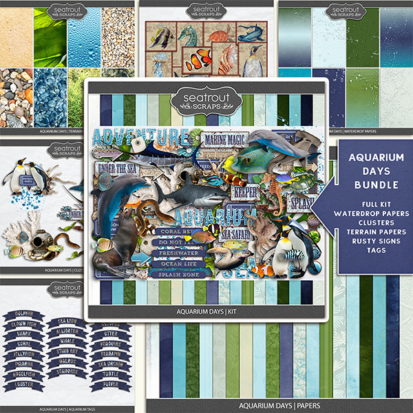 Aquarium Days Bundle Digital Art - Digital Scrapbooking Kits