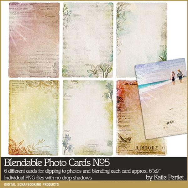 Blendable Photo Cards No. 05 Digital Art - Digital Scrapbooking Kits