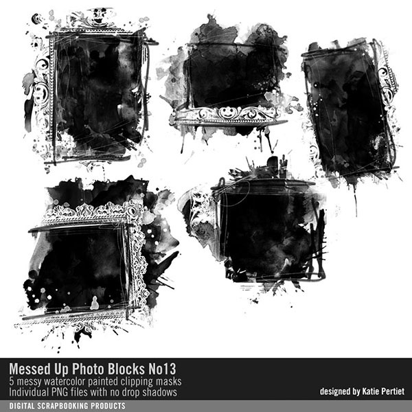 Messed Up Photo Blocks Brushes and Stamps No. 13 Digital Art - Digital Scrapbooking Kits