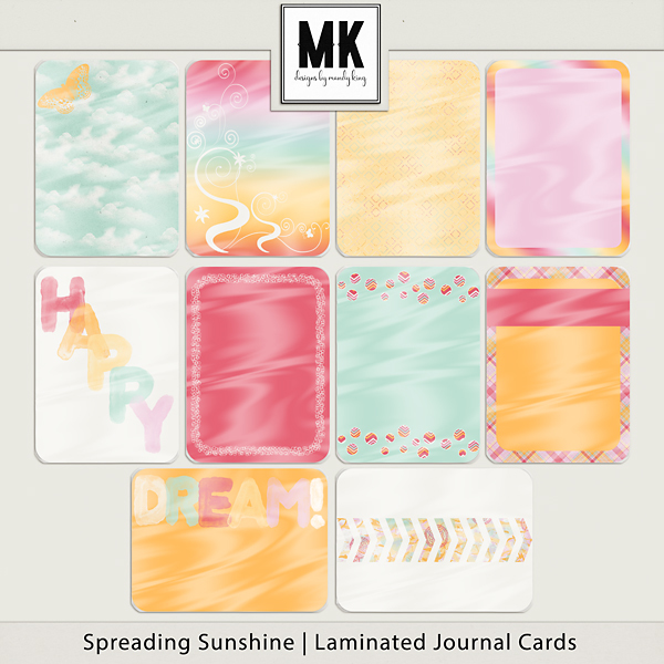 Spreading Sunshine Journal Cards Digital Art - Digital Scrapbooking Kits