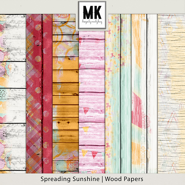 Spreading Sunshine Wood Papers Digital Art - Digital Scrapbooking Kits