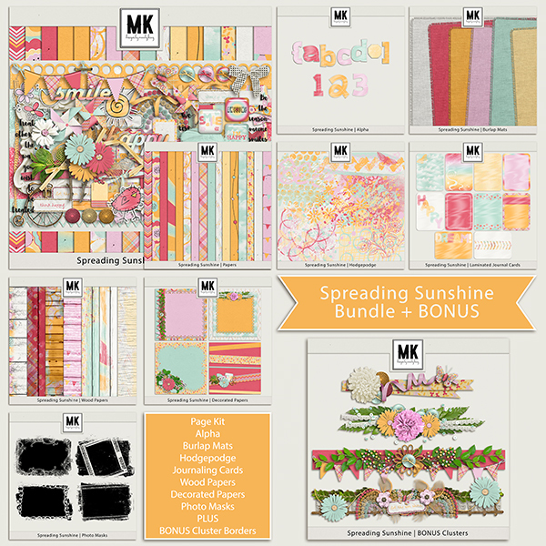 Spreading Sunshine Bundle Digital Art - Digital Scrapbooking Kits