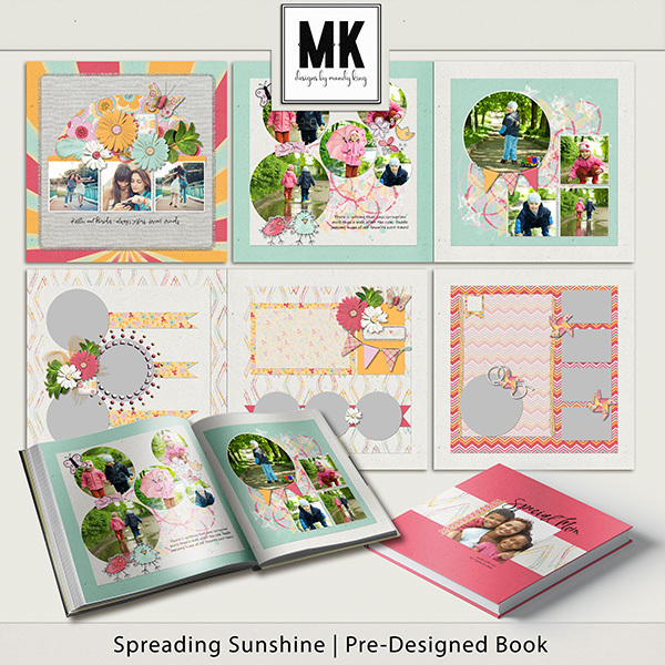 Spreading Sunshine Pre-Designed Book Digital Art - Digital Scrapbooking Kits