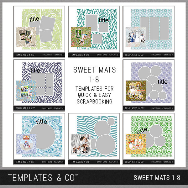 Sweet Mats - Templates 1-8 Digital Art - Digital Scrapbooking Kits
