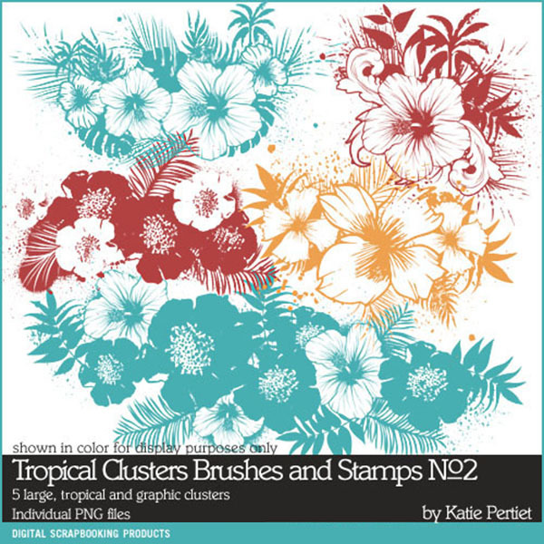 Tropical Clusters Brushes and Stamps No. 02 Digital Art - Digital Scrapbooking Kits