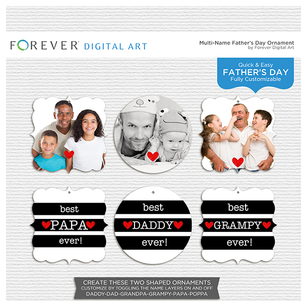 Multi-Name Fathers Day Ornament 1 Digital Art - Digital Scrapbooking Kits