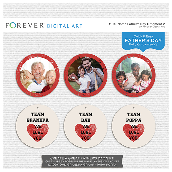 Multi-Name Fathers Day Ornament 2 Digital Art - Digital Scrapbooking Kits