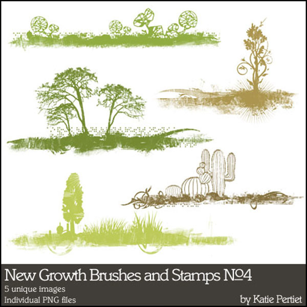 New Growth Brushes and Stamps No. 04 Digital Art - Digital Scrapbooking Kits