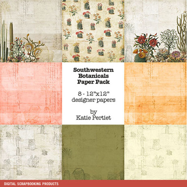 Southwestern Botanicals Paper Pack Digital Art - Digital Scrapbooking Kits