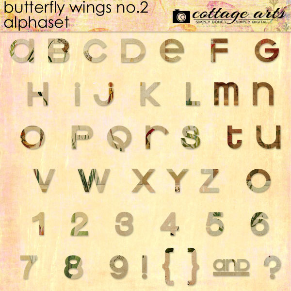 Butterfly Wings 2 AlphaSet Digital Art - Digital Scrapbooking Kits