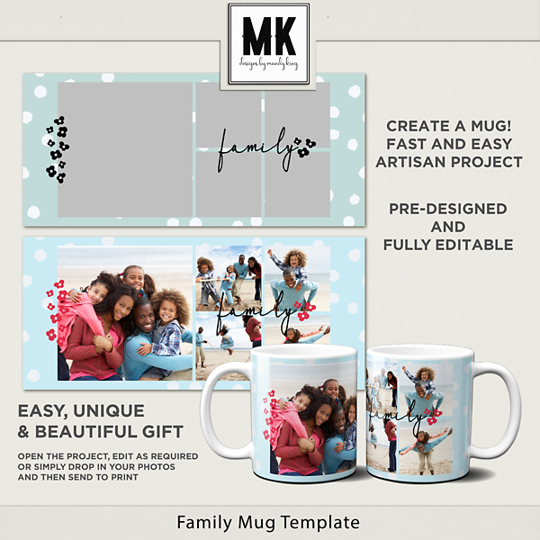 Family Mug Template Digital Art - Digital Scrapbooking Kits
