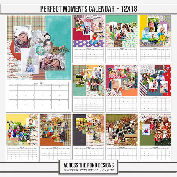 Perfect Moments Calendar - 12x18 Digital Art - Digital Scrapbooking Kits