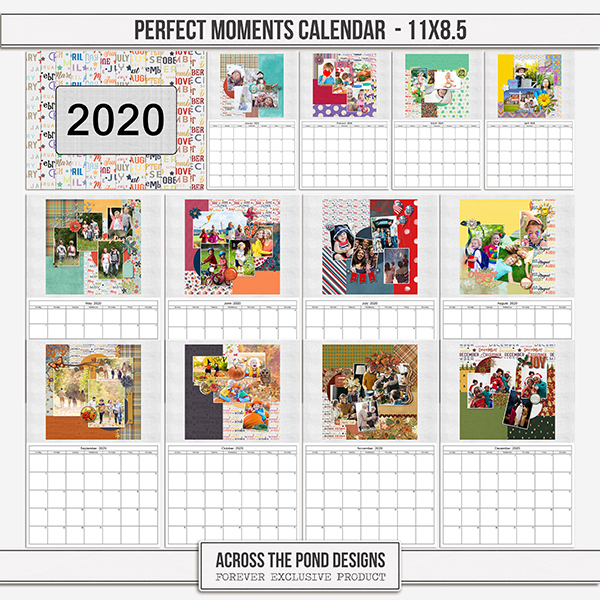 Perfect Moments Calendar - 11x8.5 Digital Art - Digital Scrapbooking Kits