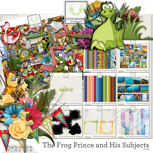 The Frog Prince And His Subjects Bundle Digital Art - Digital Scrapbooking Kits