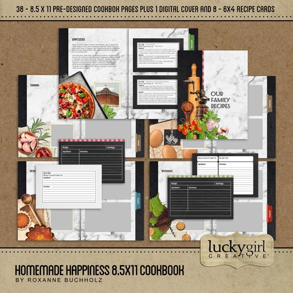 Homemade Happiness 8.5x11 Cookbook Digital Art - Digital Scrapbooking Kits