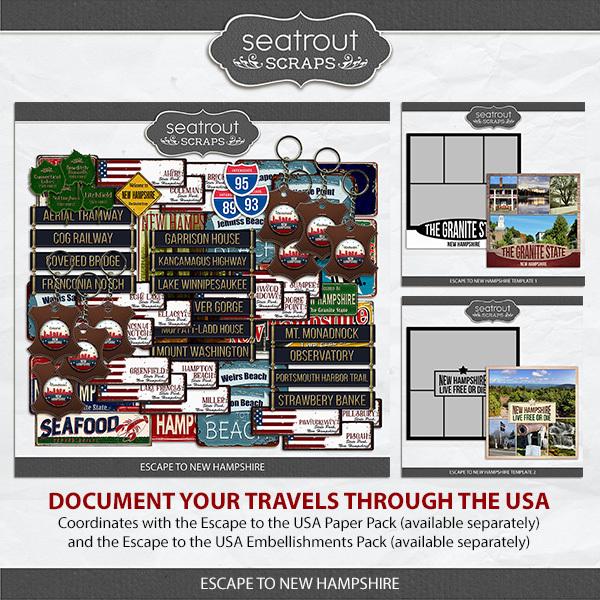 Escape to New Hampshire Digital Art - Digital Scrapbooking Kits
