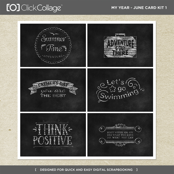 My Year - June Card Kit 1 Digital Art - Digital Scrapbooking Kits