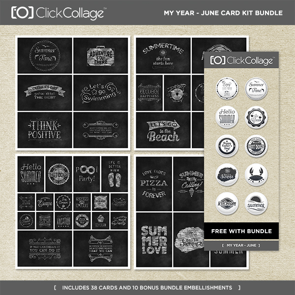 My Year - June Card Kit Bundle Digital Art - Digital Scrapbooking Kits