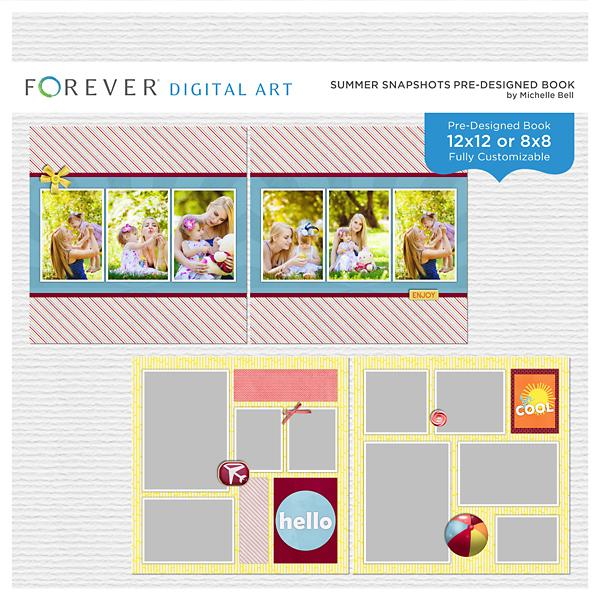 Summer Snapshots Pre-designed Book Digital Art - Digital Scrapbooking Kits