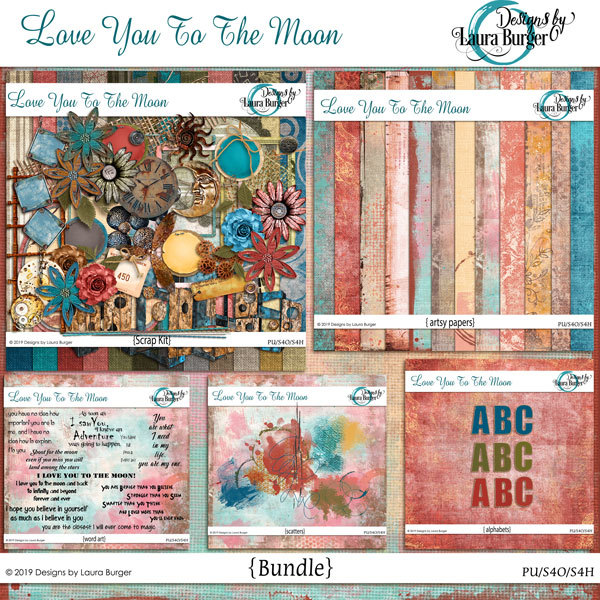 Love You To The Moon Bundle Digital Art - Digital Scrapbooking Kits