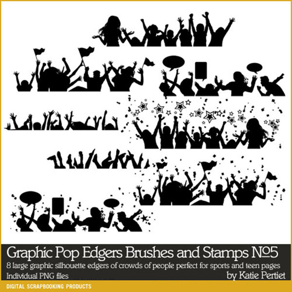 Graphic Pop Edgers No. 05 Brushes and Stamps Digital Art - Digital Scrapbooking Kits
