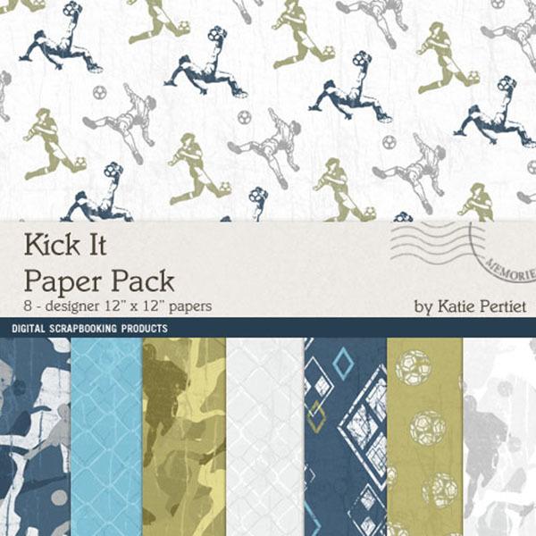 Kick It Paper Pack Digital Art - Digital Scrapbooking Kits