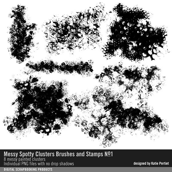 Messy Spotty Clusters Brushes and Stamps No. 01 Digital Art - Digital Scrapbooking Kits