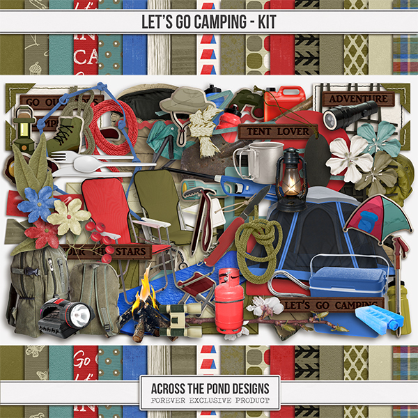 Let's Go Camping Page Kit Digital Art - Digital Scrapbooking Kits