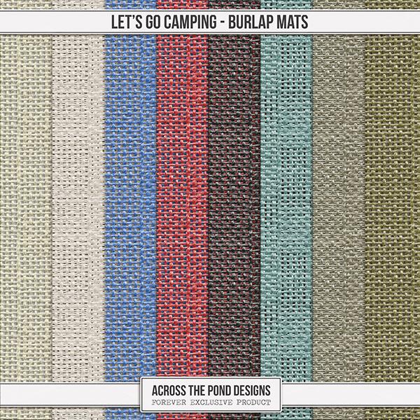 Let's Go Camping Burlap Mats Digital Art - Digital Scrapbooking Kits