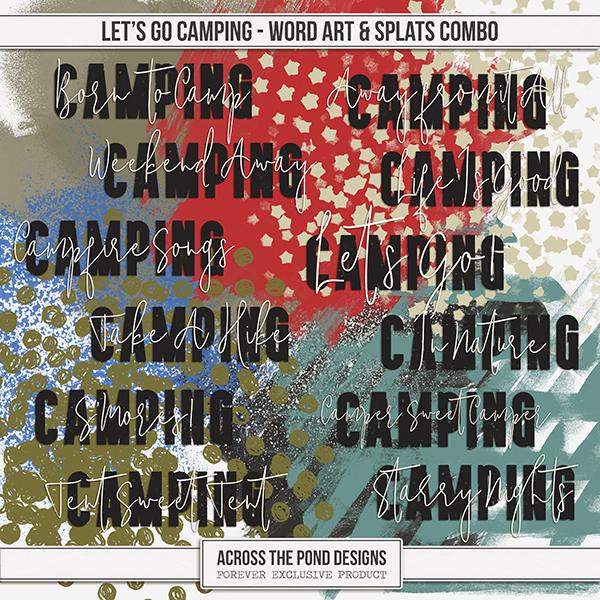 Let's Go Camping Word Art & Splats Combo Digital Art - Digital Scrapbooking Kits