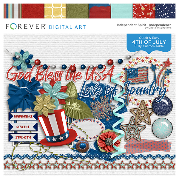 Independent Spirit Independence Digital Art - Digital Scrapbooking Kits