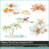 Watery Pencil Line Seashore No. 01