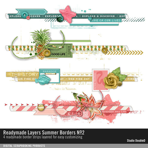 Readymade Layers Summer Borders No. 02 Digital Art - Digital Scrapbooking Kits