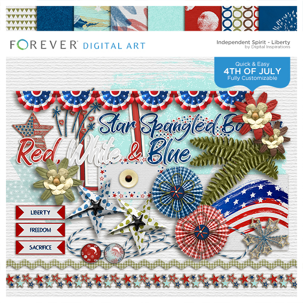 Independent Spirit Liberty Digital Art - Digital Scrapbooking Kits
