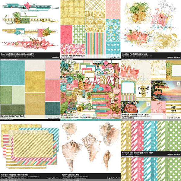 Floridian Scrapbooking Bundle Digital Art - Digital Scrapbooking Kits