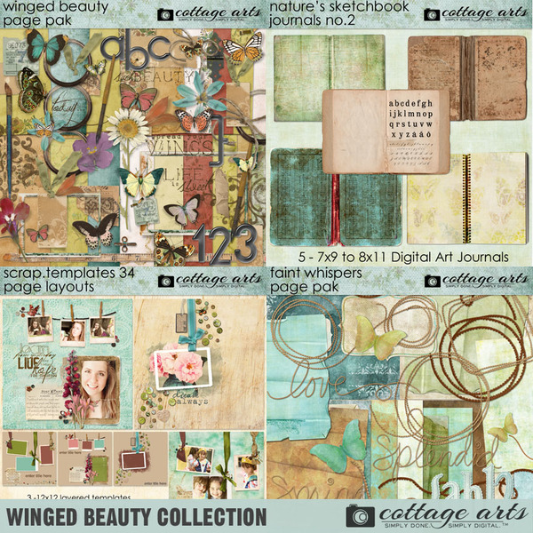 Winged Beauty Collection Digital Art - Digital Scrapbooking Kits