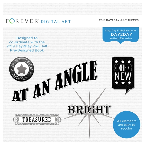 2019 Day2Day July Themes Digital Art - Digital Scrapbooking Kits