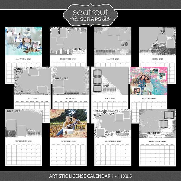 Artistic License Calendar 1 - 11x8.5 Digital Art - Digital Scrapbooking Kits