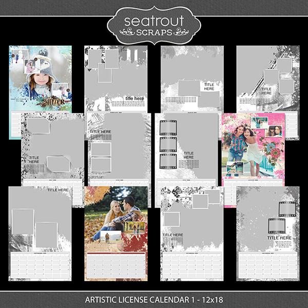Artistic License Calendar 1 - 12x18 Digital Art - Digital Scrapbooking Kits