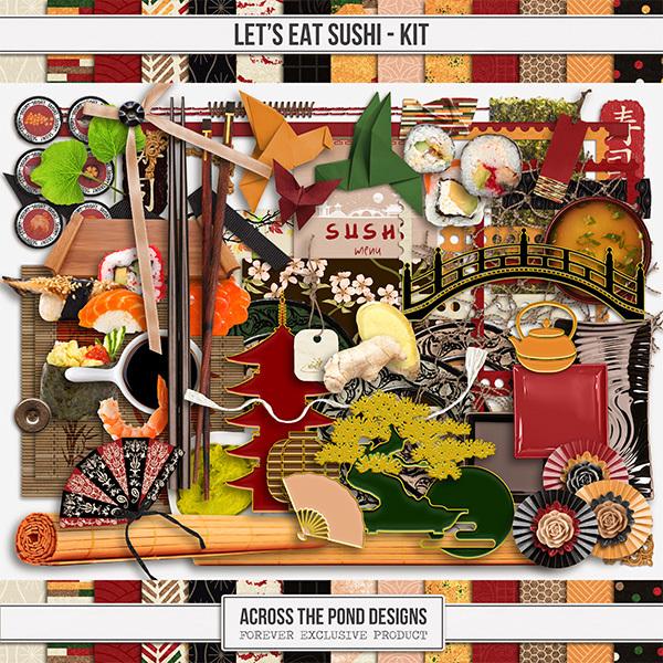 Let's Eat Sushi Kit Digital Art - Digital Scrapbooking Kits