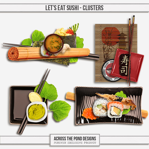Let's Eat Sushi Clusters Digital Art - Digital Scrapbooking Kits