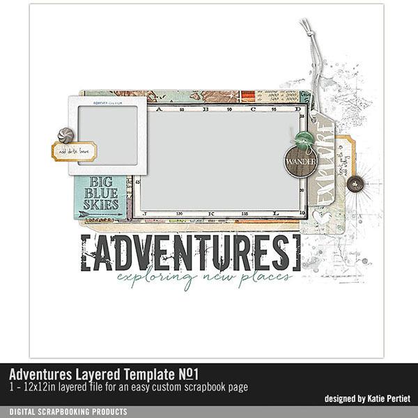 Adventures Layered Template No. 01 Digital Art - Digital Scrapbooking Kits