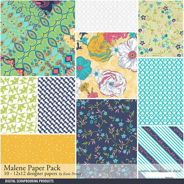 Malene Paper Pack Digital Art - Digital Scrapbooking Kits