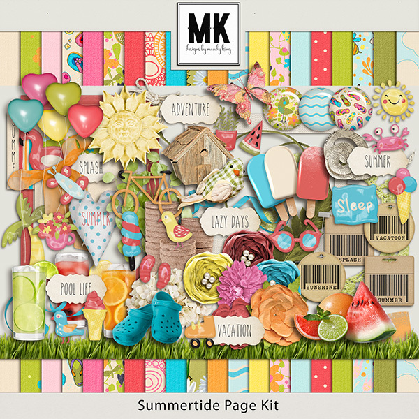 Summertide Page Kit Digital Art - Digital Scrapbooking Kits