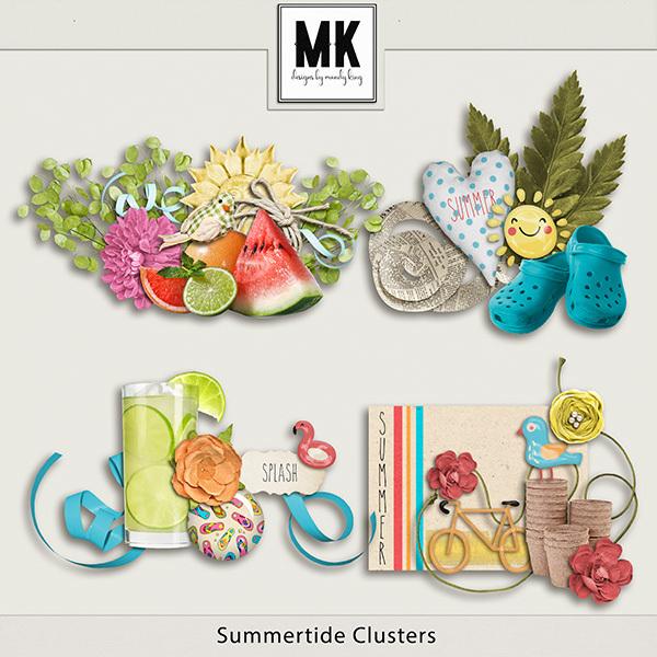 Summertide Clusters Digital Art - Digital Scrapbooking Kits