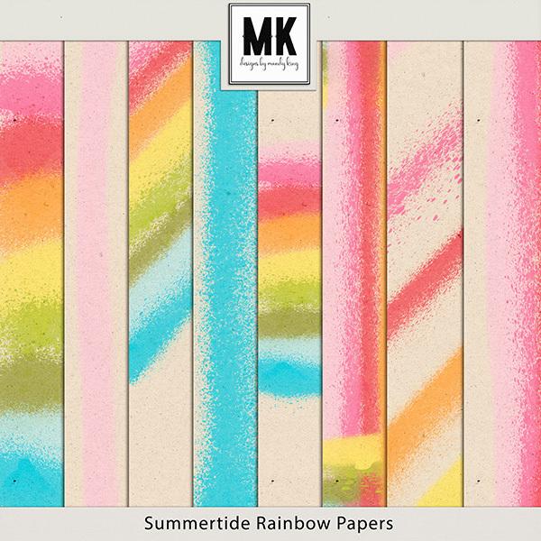 Summertide Rainbow Papers Digital Art - Digital Scrapbooking Kits