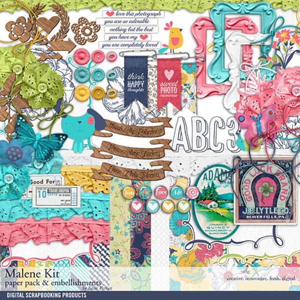 Malene Scrapbook Kit Digital Art - Digital Scrapbooking Kits
