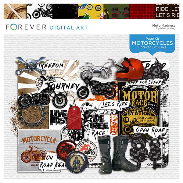 Moto Madness Digital Art - Digital Scrapbooking Kits