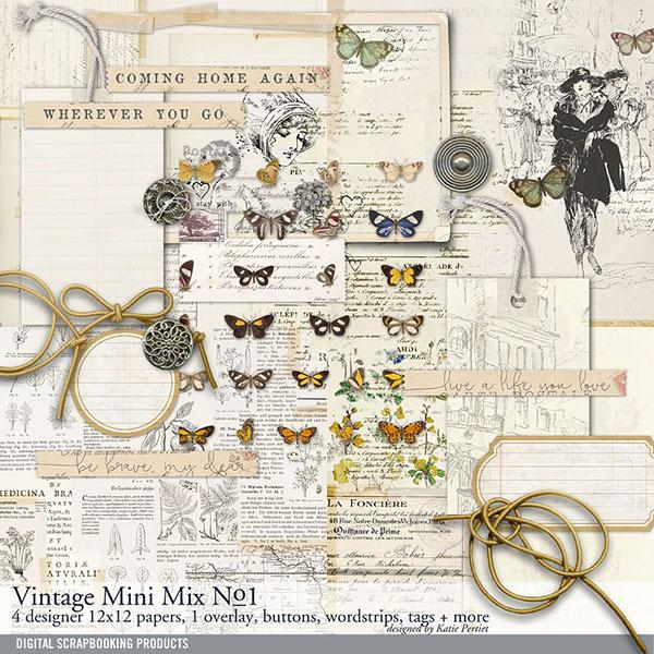 Vintage Mini Mix Kit No. 01 Digital Art - Digital Scrapbooking Kits