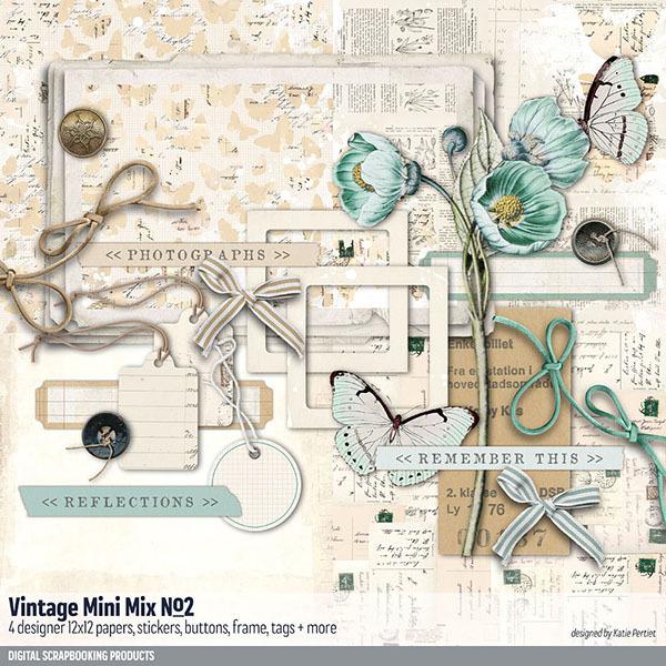 Vintage Mini Mix Kit No. 02 Digital Art - Digital Scrapbooking Kits